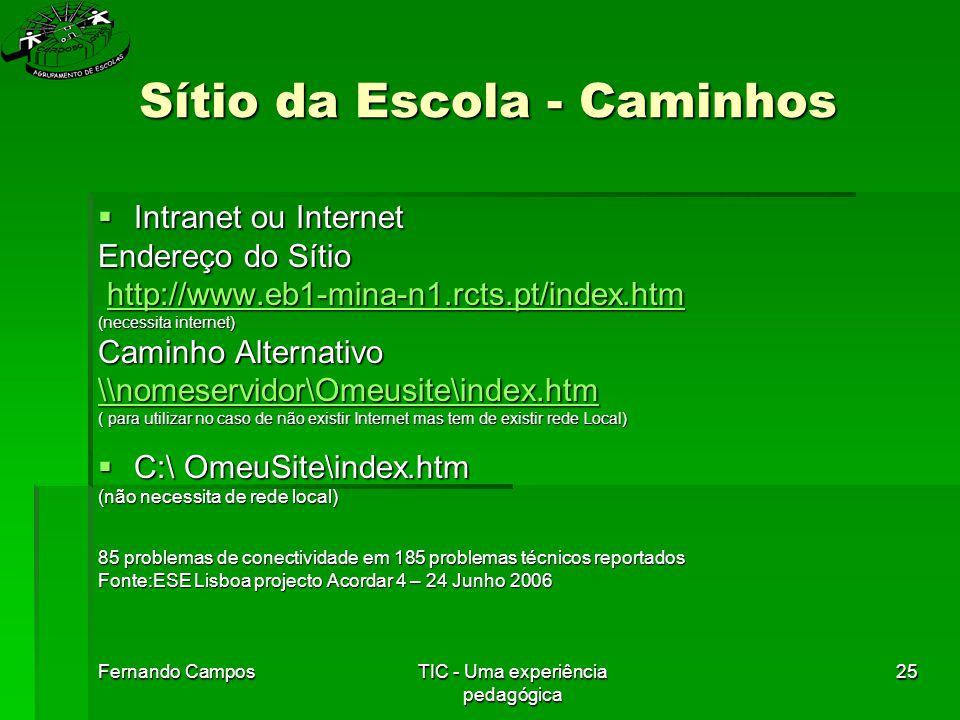 Fernando CamposTIC - Uma experiência pedagógica 25 Sítio da Escola - Caminhos  Intranet ou Internet Endereço do Sítio http://www.eb1-mina-n1.rcts.pt/index.htm http://www.eb1-mina-n1.rcts.pt/index.htmhttp://www.eb1-mina-n1.rcts.pt/index.htm (necessita internet) Caminho Alternativo \\nomeservidor\Omeusite\index.htm ( para utilizar no caso de não existir Internet mas tem de existir rede Local)  C:\ OmeuSite\index.htm (não necessita de rede local) 85 problemas de conectividade em 185 problemas técnicos reportados Fonte:ESE Lisboa projecto Acordar 4 – 24 Junho 2006