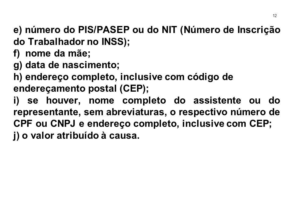 e) número do PIS/PASEP ou do NIT (Número de Inscrição do Trabalhador no INSS); f) nome da mãe; g) data de nascimento; h) endereço completo, inclusive