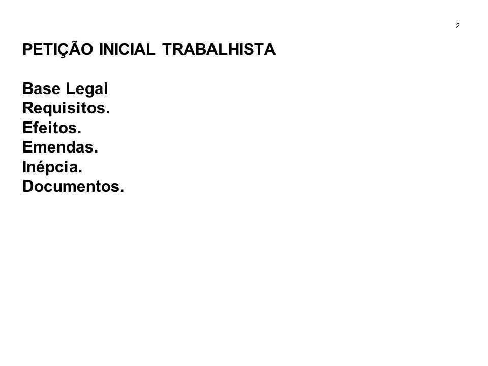 PETIÇÃO INICIAL TRABALHISTA Base Legal Requisitos. Efeitos. Emendas. Inépcia. Documentos. 2