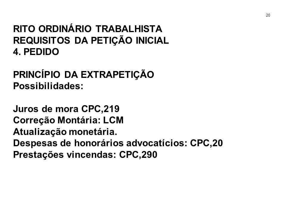 RITO ORDINÁRIO TRABALHISTA REQUISITOS DA PETIÇÃO INICIAL 4. PEDIDO PRINCÍPIO DA EXTRAPETIÇÃO Possibilidades: Juros de mora CPC,219 Correção Montária: