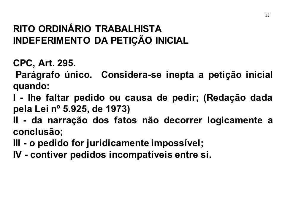 RITO ORDINÁRIO TRABALHISTA INDEFERIMENTO DA PETIÇÃO INICIAL CPC, Art. 295. Parágrafo único. Considera-se inepta a petição inicial quando: I - Ihe falt