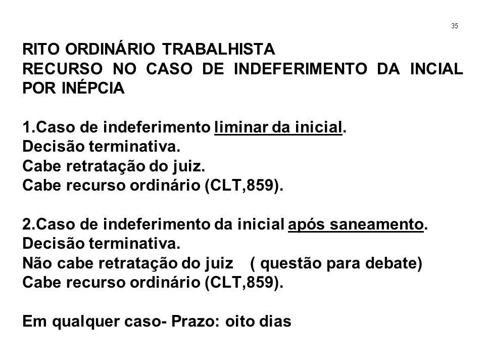 RITO ORDINÁRIO TRABALHISTA RECURSO NO CASO DE INDEFERIMENTO DA INCIAL POR INÉPCIA 1.Caso de indeferimento liminar da inicial. Decisão terminativa. Cab