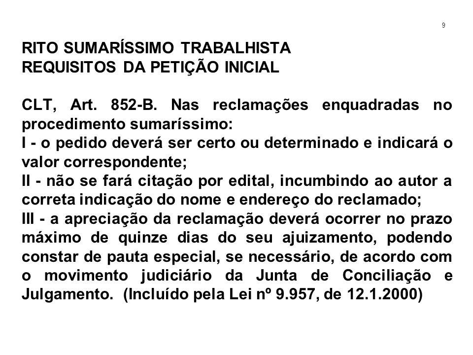 RITO SUMARÍSSIMO TRABALHISTA REQUISITOS DA PETIÇÃO INICIAL CLT, Art. 852-B. Nas reclamações enquadradas no procedimento sumaríssimo: I - o pedido deve