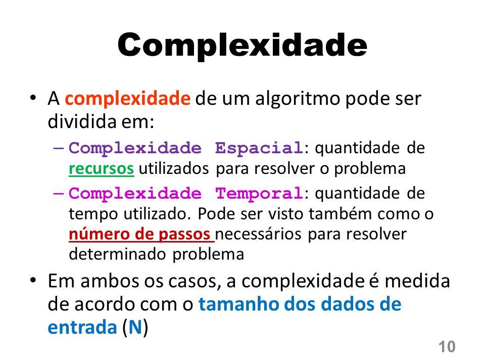 Complexidade A complexidade de um algoritmo pode ser dividida em: – Complexidade Espacial : quantidade de recursos utilizados para resolver o problema – Complexidade Temporal : quantidade de tempo utilizado.
