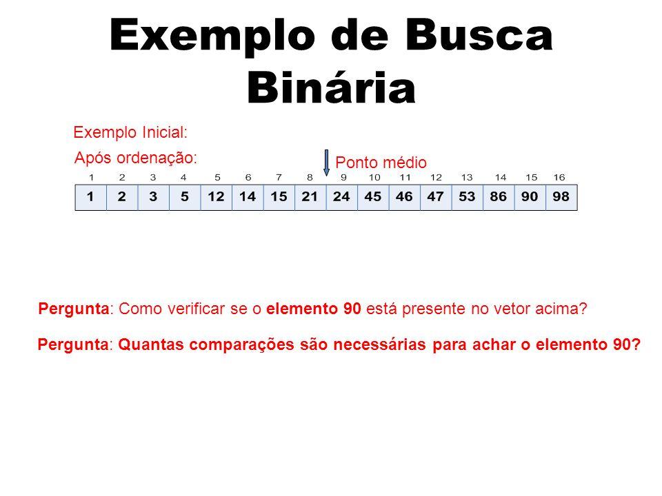Exemplo de Busca Binária Pergunta: Como verificar se o elemento 90 está presente no vetor acima.