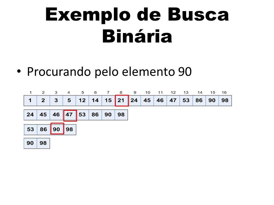 Procurando pelo elemento 90 Exemplo de Busca Binária
