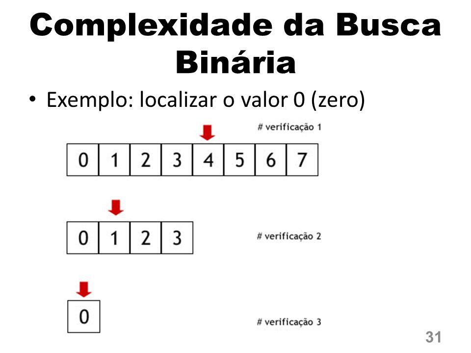 Complexidade da Busca Binária Exemplo: localizar o valor 0 (zero) 31