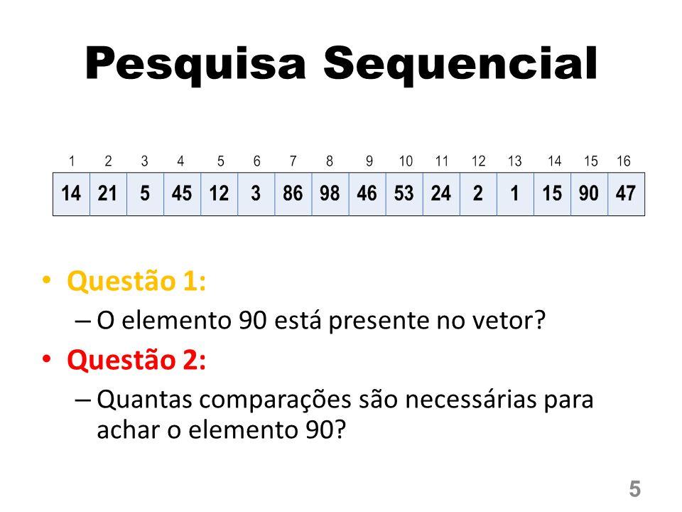 Questão 1: – O elemento 90 está presente no vetor.