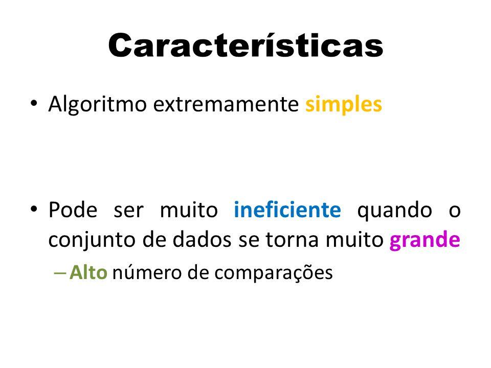 Algoritmo extremamente simples Pode ser muito ineficiente quando o conjunto de dados se torna muito grande – Alto número de comparações Características