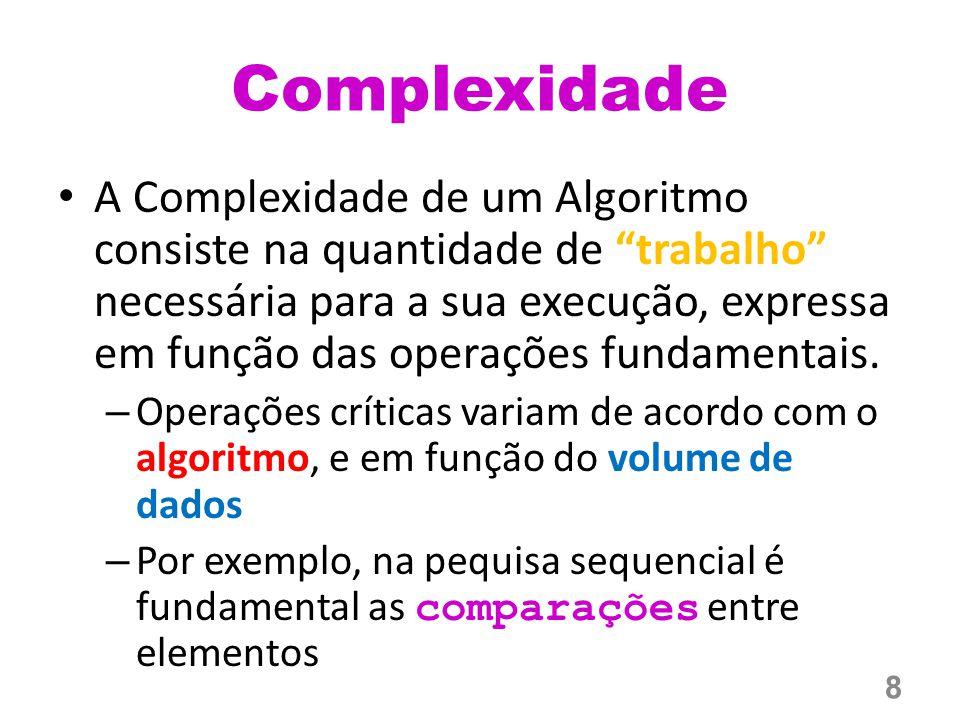 Complexidade A Complexidade de um Algoritmo consiste na quantidade de trabalho necessária para a sua execução, expressa em função das operações fundamentais.