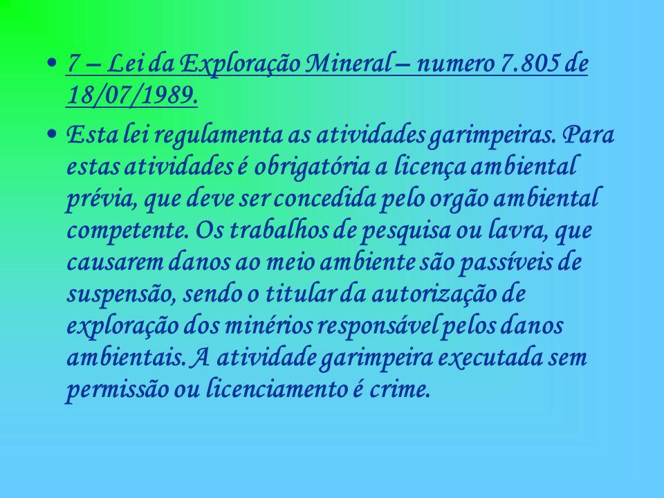 7 – Lei da Exploração Mineral – numero 7.805 de 18/07/1989. Esta lei regulamenta as atividades garimpeiras. Para estas atividades é obrigatória a lice