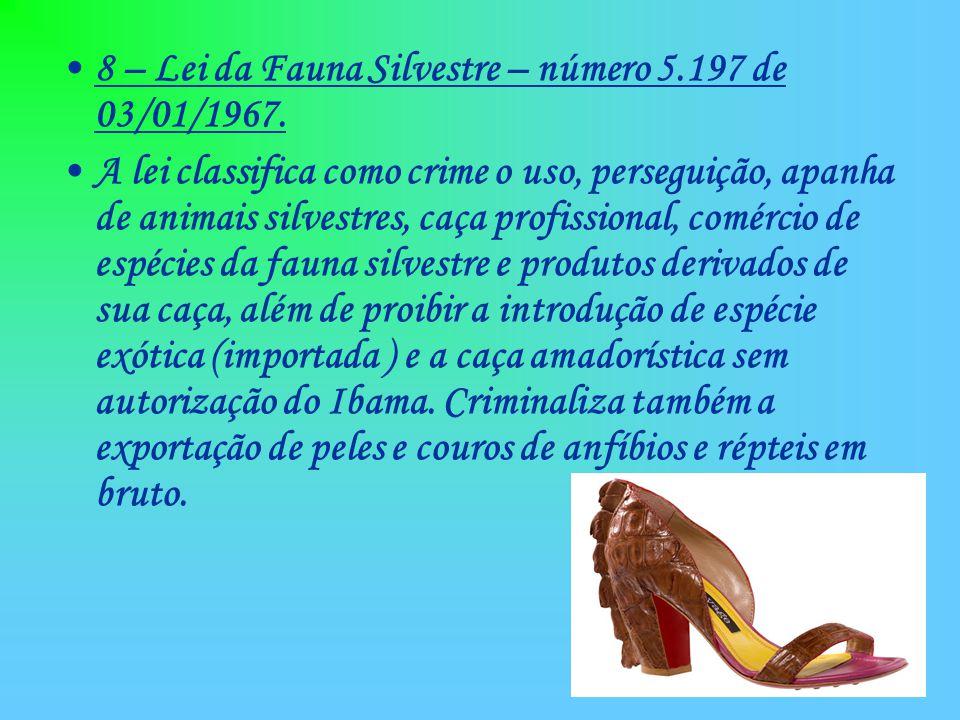 8 – Lei da Fauna Silvestre – número 5.197 de 03/01/1967. A lei classifica como crime o uso, perseguição, apanha de animais silvestres, caça profission