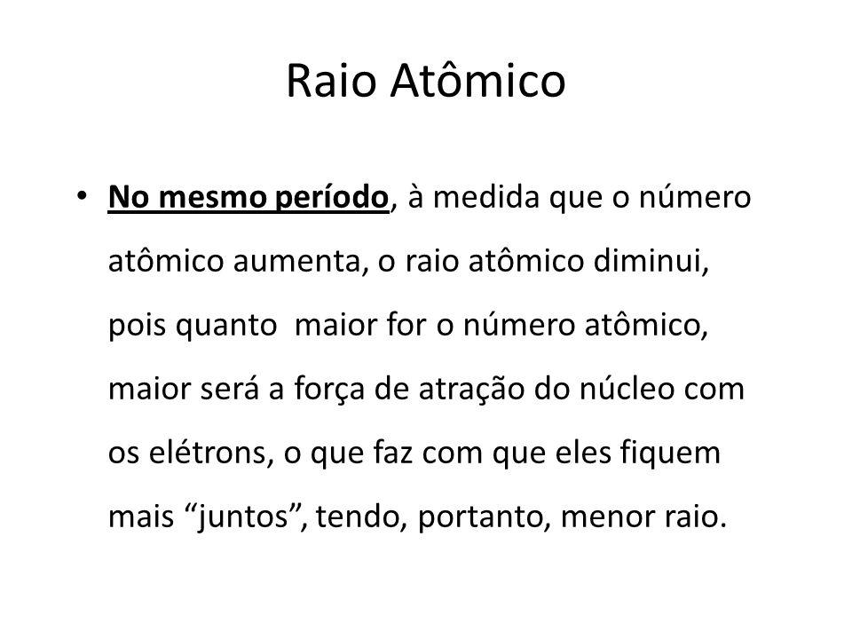 Raio Atômico No mesmo período, à medida que o número atômico aumenta, o raio atômico diminui, pois quanto maior for o número atômico, maior será a força de atração do núcleo com os elétrons, o que faz com que eles fiquem mais juntos , tendo, portanto, menor raio.