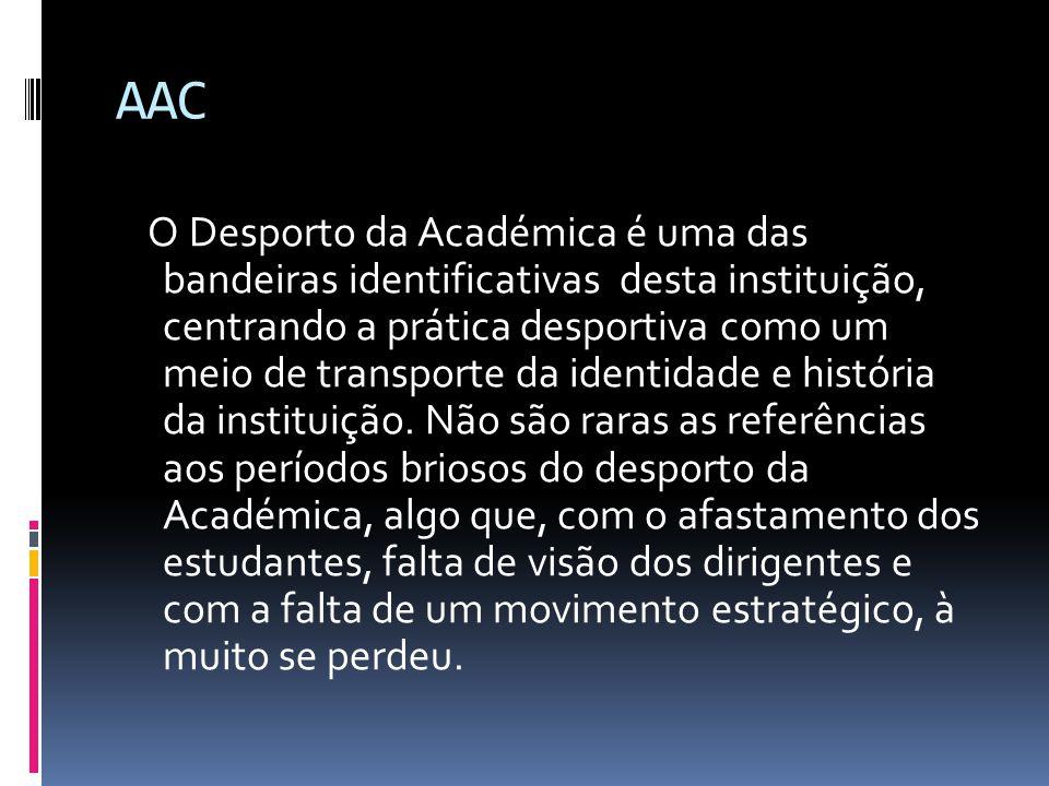 AAC O Desporto da Académica é uma das bandeiras identificativas desta instituição, centrando a prática desportiva como um meio de transporte da identi