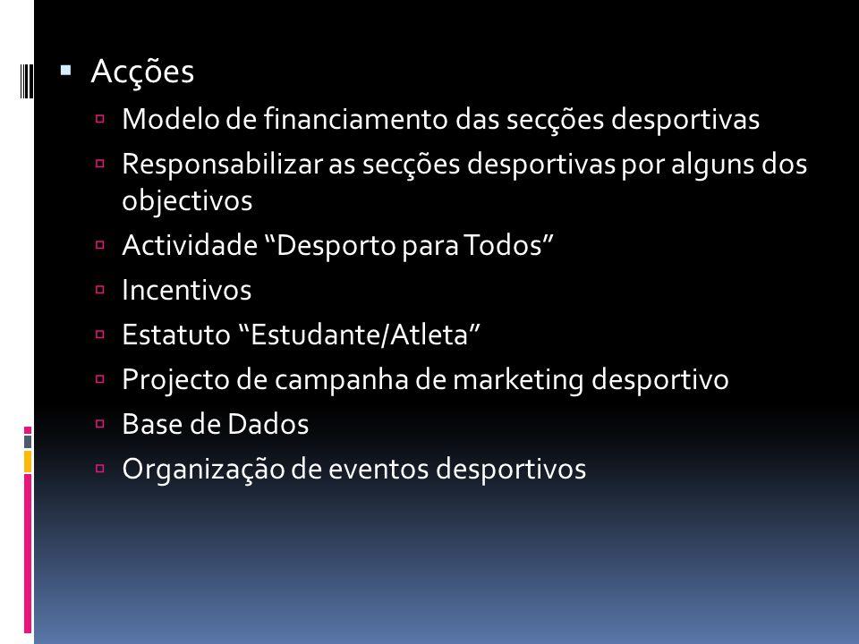 """ Acções  Modelo de financiamento das secções desportivas  Responsabilizar as secções desportivas por alguns dos objectivos  Actividade """"Desporto p"""
