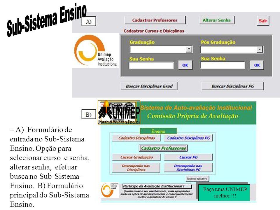 – A) Formulário de entrada no Sub-Sistema Ensino. Opção para selecionar curso e senha, alterar senha, efetuar busca no Sub-Sistema - Ensino. B) Formul