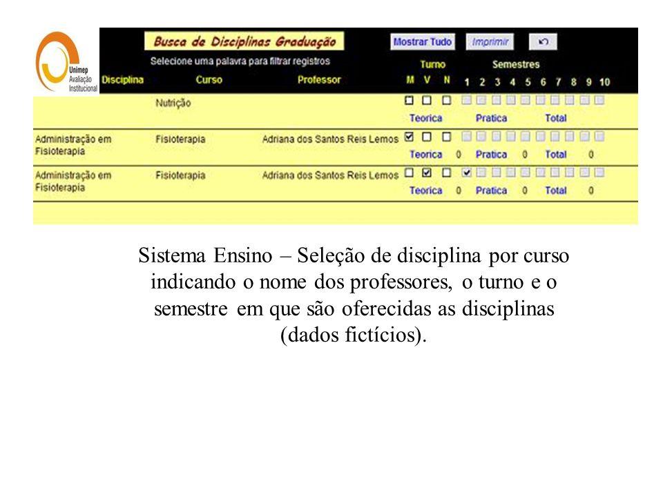 Sistema Ensino – Seleção de disciplina por curso indicando o nome dos professores, o turno e o semestre em que são oferecidas as disciplinas (dados fi