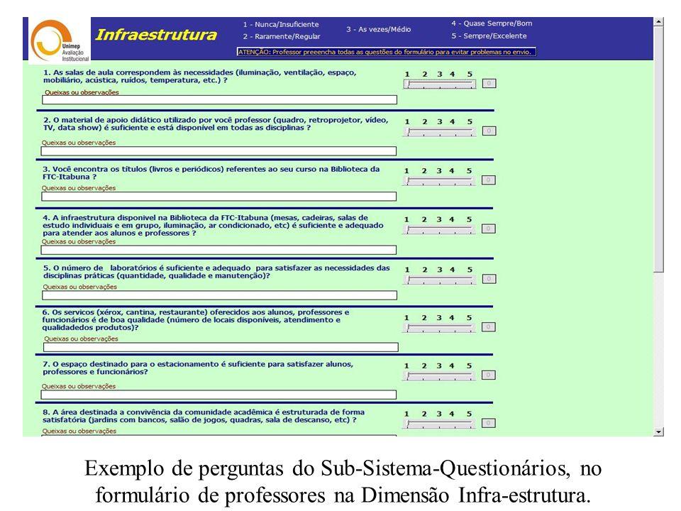 Exemplo de perguntas do Sub-Sistema-Questionários, no formulário de professores na Dimensão Infra-estrutura.