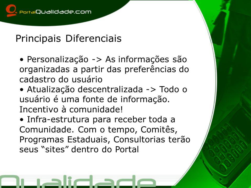 Personalização -> As informações são organizadas a partir das preferências do cadastro do usuário Atualização descentralizada -> Todo o usuário é uma fonte de informação.