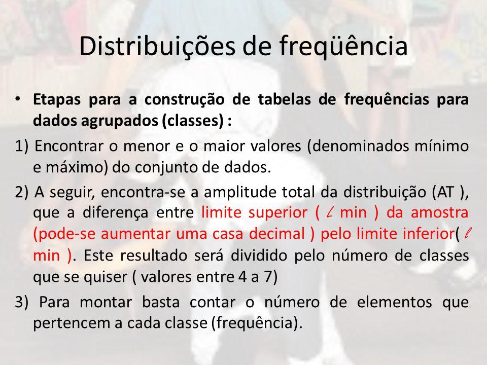 Distribuições de freqüência Etapas para a construção de tabelas de frequências para dados agrupados (classes) : 1) Encontrar o menor e o maior valores (denominados mínimo e máximo) do conjunto de dados.