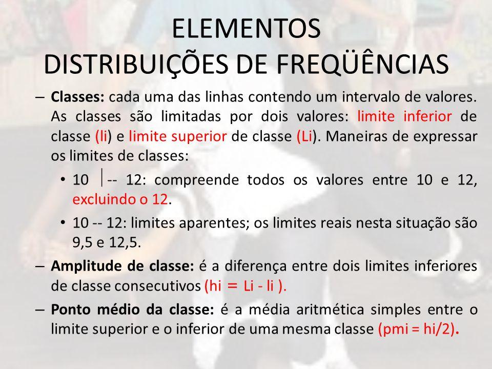 ELEMENTOS DISTRIBUIÇÕES DE FREQÜÊNCIAS – Classes: cada uma das linhas contendo um intervalo de valores. As classes são limitadas por dois valores: lim