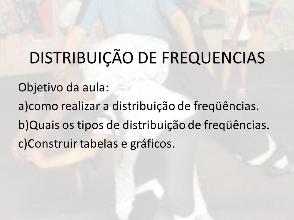 DISTRIBUIÇÃO DE FREQUENCIAS Objetivo da aula: a)como realizar a distribuição de freqüências. b)Quais os tipos de distribuição de freqüências. c)Constr