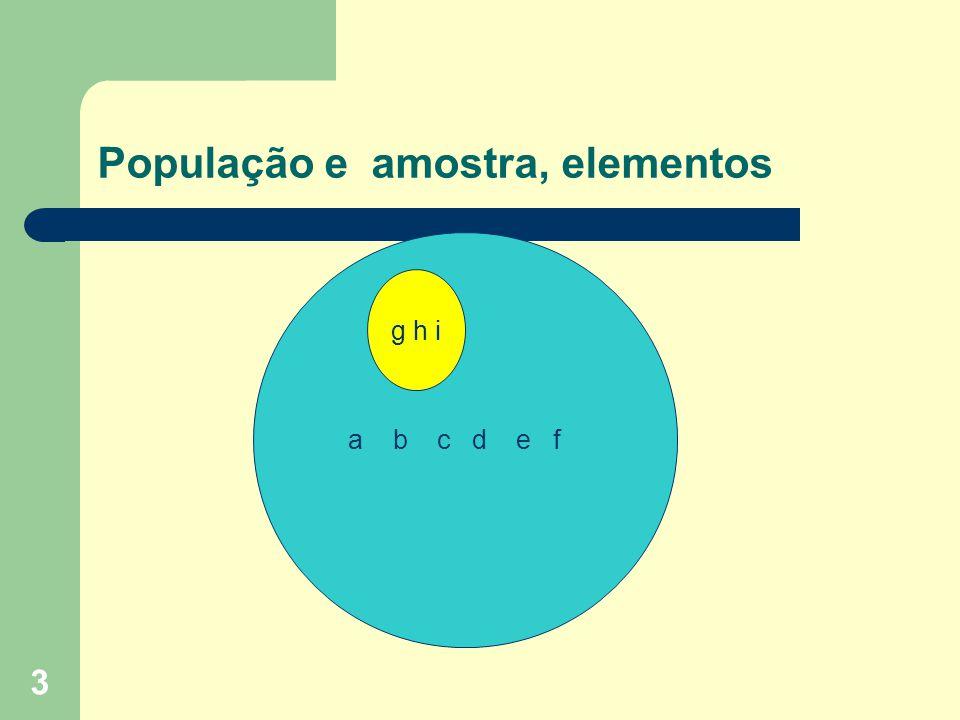 3 População e amostra, elementos a b c d e f g h i