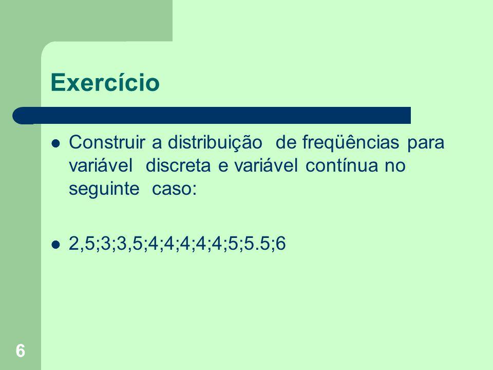 6 Exercício Construir a distribuição de freqüências para variável discreta e variável contínua no seguinte caso: 2,5;3;3,5;4;4;4;4;4;5;5.5;6