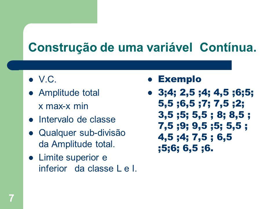 7 Construção de uma variável Contínua.V.C.