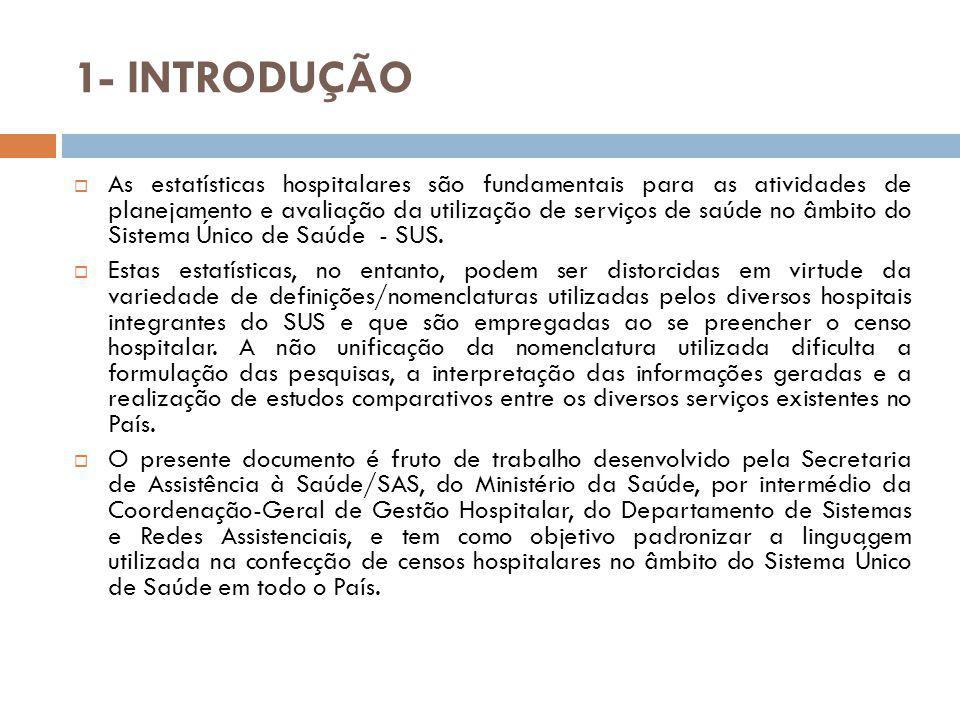 1 - INTRODUÇÃO  Vários hospitais brasileiros desenvolveram, isoladamente, esforços no sentido de adotar sua nomenclatura padrão – para uso interno - a ser empregada na confecção de seus respectivos censos hospitalares.