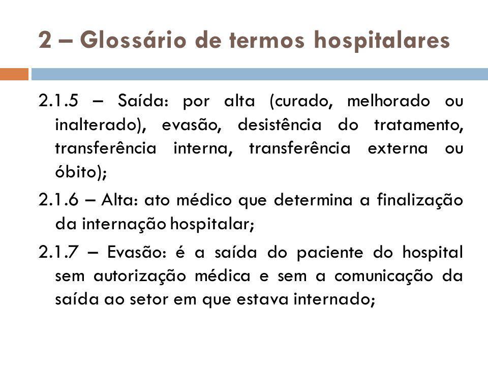 2 – Glossário de termos hospitalares 2.1.8 – Desistência do tratamento: é a saída do paciente do hospital sem autorização médica, porém com comunicação da saída ao setor em que estava internado.