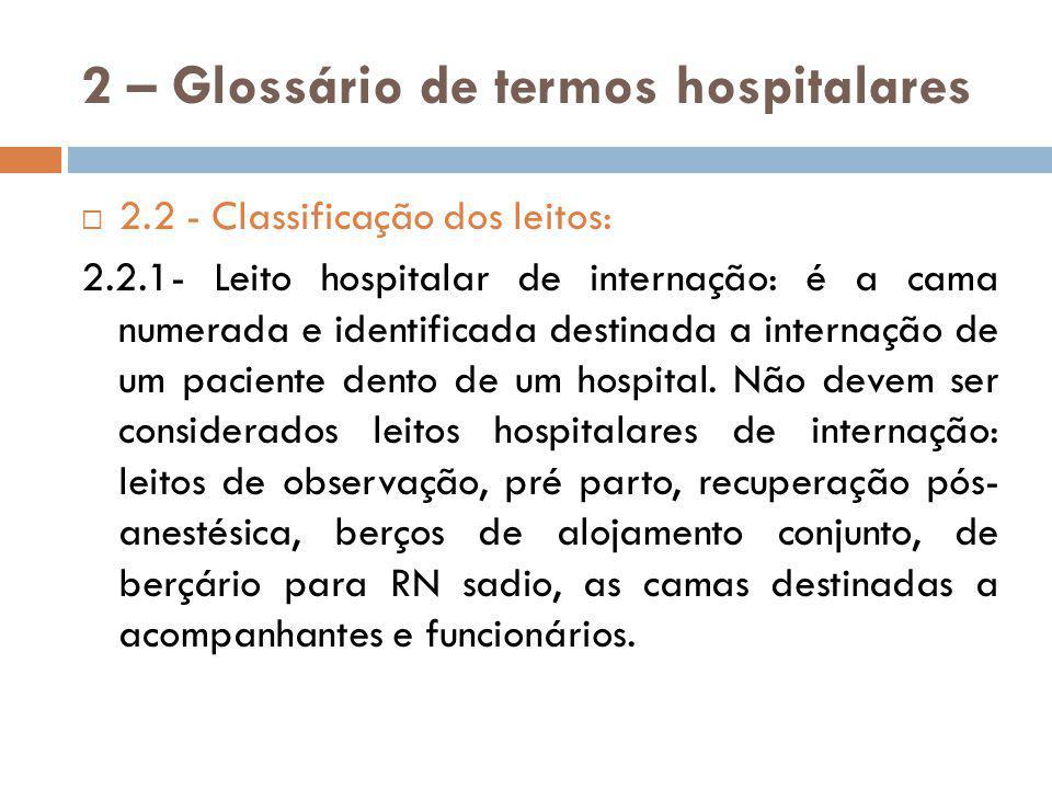 2 – Glossário de termos hospitalares 2.2.2 – Leito hospitalar de observação: é o leito destinada a paciente sob supervisão médica e/ou enfermagem, para fins diagnósticos ou terapêuticos, por período inferior a 24hs.