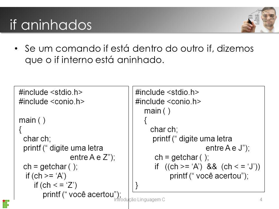 Introdução Linguagem C Se um comando if está dentro do outro if, dizemos que o if interno está aninhado.