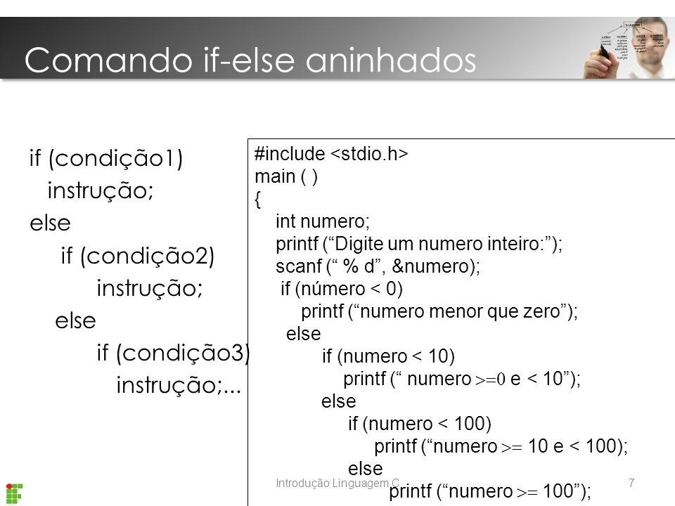 Introdução Linguagem C if (condição1) instrução; else if (condição2) instrução; else if (condição3) instrução;...
