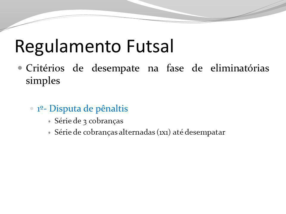 Regulamento Futsal Critérios de desempate na fase de eliminatórias simples 1º- Disputa de pênaltis Série de 3 cobranças Série de cobranças alternadas