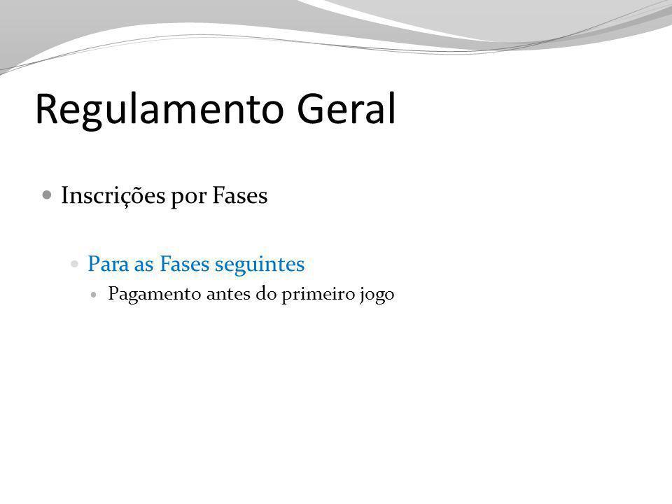 Regulamento Geral Inscrições por Fases Para as Fases seguintes Pagamento antes do primeiro jogo