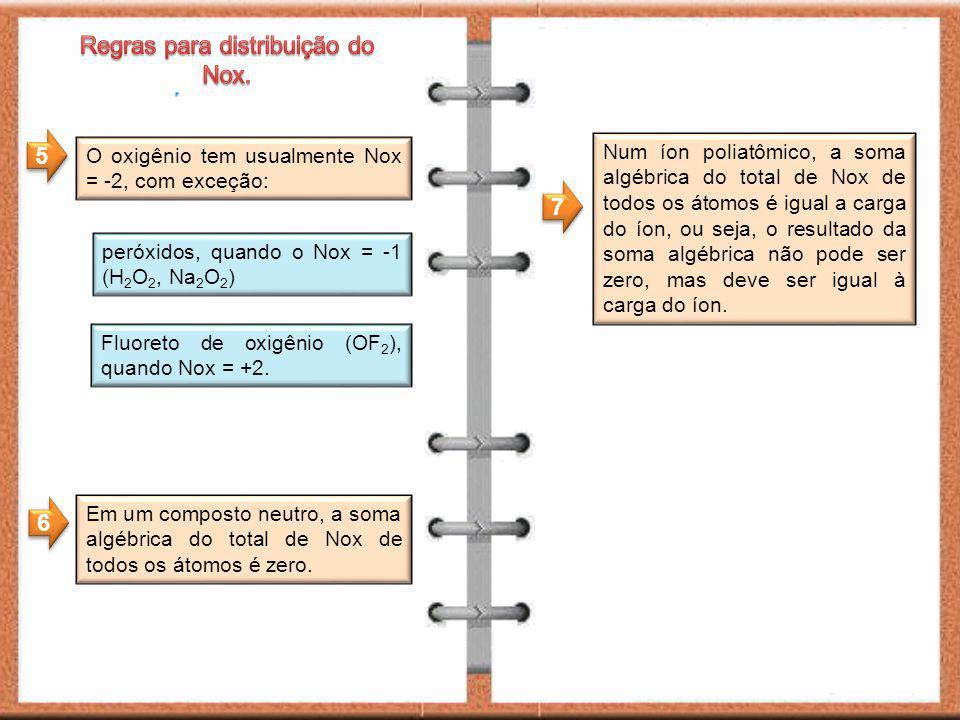 O oxigênio tem usualmente Nox = -2, com exceção: peróxidos, quando o Nox = -1 (H 2 O 2, Na 2 O 2 ) Fluoreto de oxigênio (OF 2 ), quando Nox = +2.