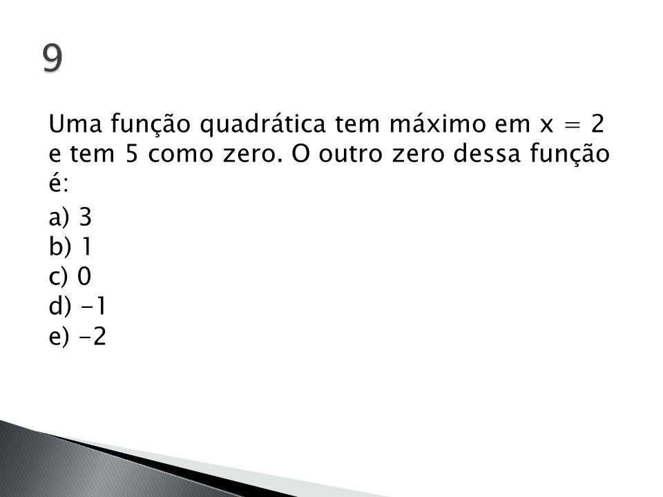 Uma função quadrática tem máximo em x = 2 e tem 5 como zero. O outro zero dessa função é: a) 3 b) 1 c) 0 d) -1 e) -2
