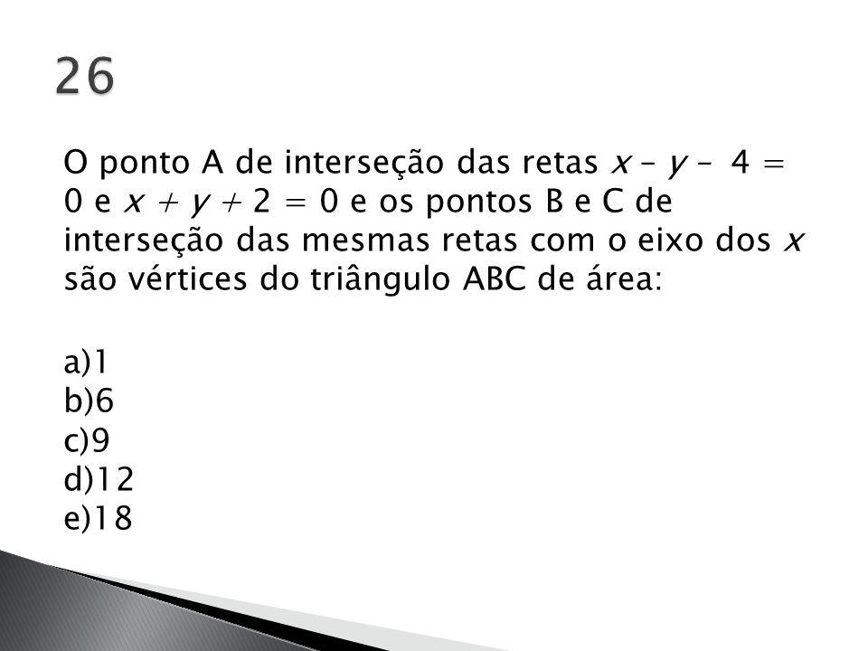 O ponto A de interseção das retas x – y – 4 = 0 e x + y + 2 = 0 e os pontos B e C de interseção das mesmas retas com o eixo dos x são vértices do triâ