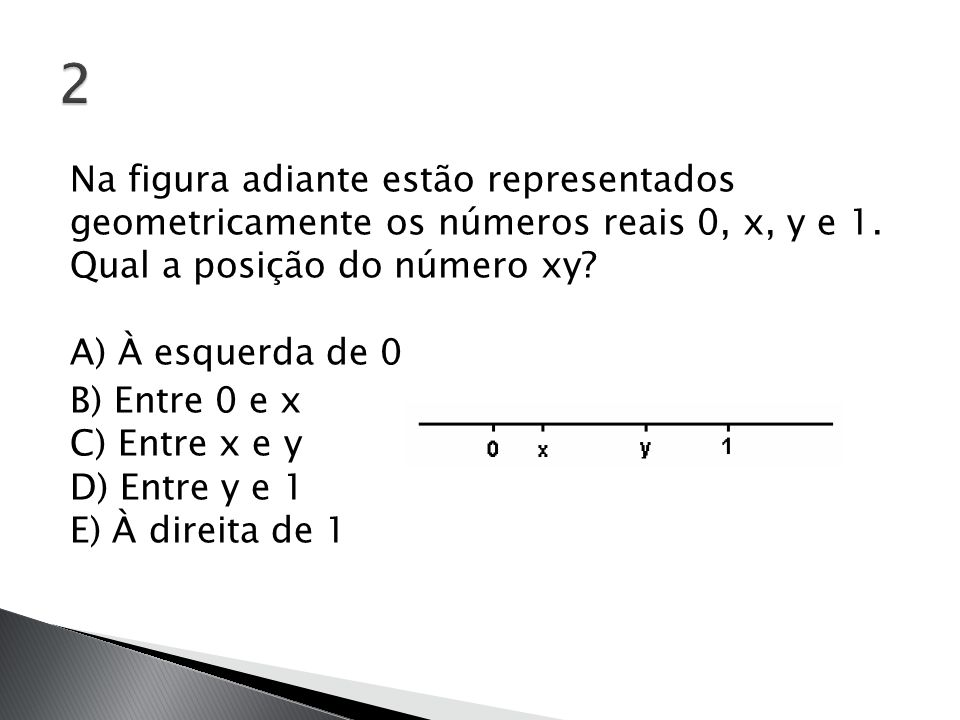 Na figura adiante estão representados geometricamente os números reais 0, x, y e 1. Qual a posição do número xy? A) À esquerda de 0 B) Entre 0 e x C)