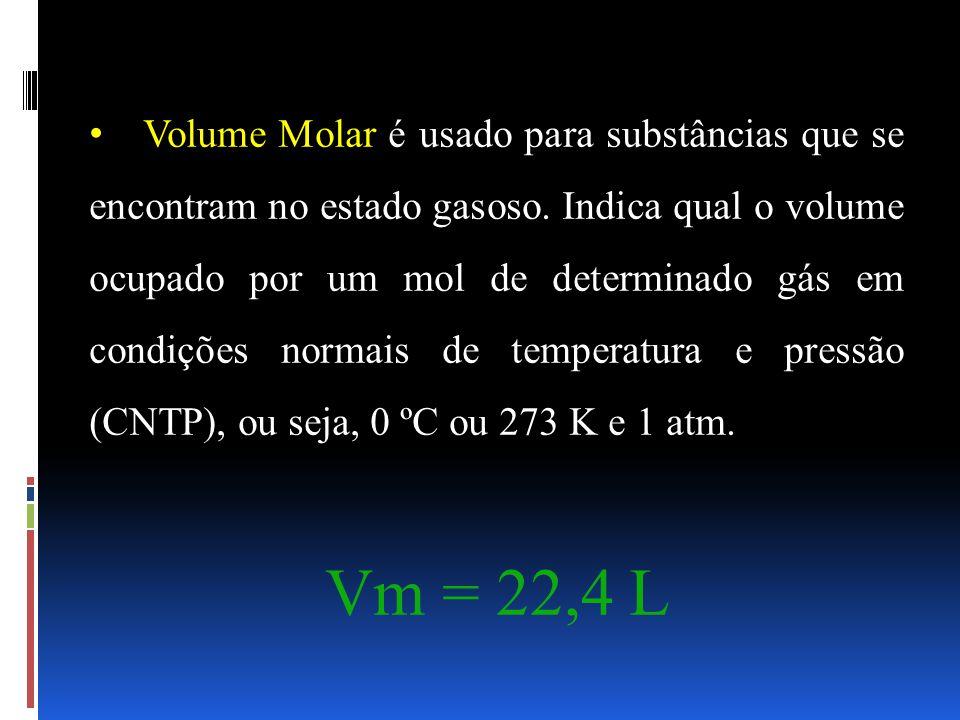 Volume Molar é usado para substâncias que se encontram no estado gasoso. Indica qual o volume ocupado por um mol de determinado gás em condições norma