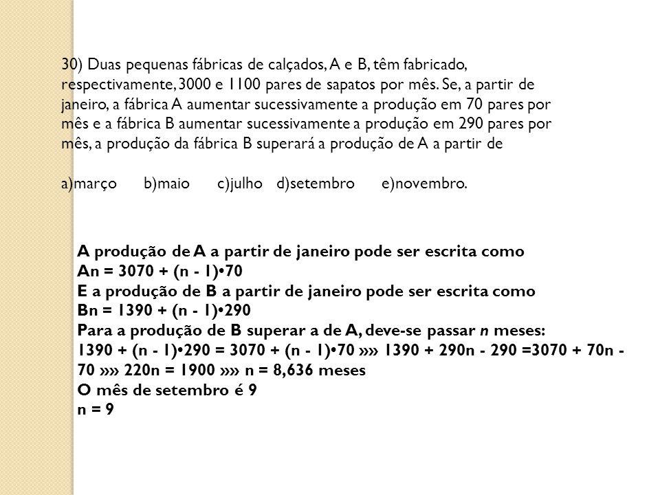 30) Duas pequenas fábricas de calçados, A e B, têm fabricado, respectivamente, 3000 e 1100 pares de sapatos por mês.