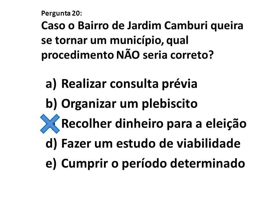 Pergunta 20: Caso o Bairro de Jardim Camburi queira se tornar um município, qual procedimento NÃO seria correto? a)Realizar consulta prévia b)Organiza