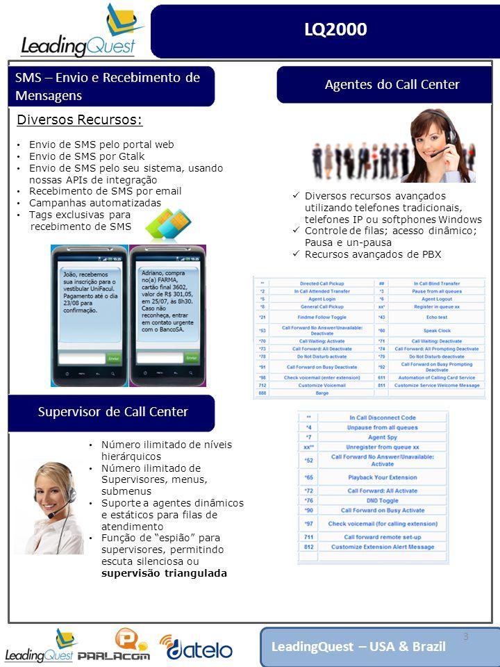 3 Diversos Recursos: Envio de SMS pelo portal web Envio de SMS por Gtalk Envio de SMS pelo seu sistema, usando nossas APIs de integração Recebimento de SMS por email Campanhas automatizadas Tags exclusivas para recebimento de SMS LQ2000 LeadingQuest – USA & Brazil SMS – Envio e Recebimento de Mensagens Supervisor de Call Center Número ilimitado de níveis hierárquicos Número ilimitado de Supervisores, menus, submenus Suporte a agentes dinâmicos e estáticos para filas de atendimento Função de espião para supervisores, permitindo escuta silenciosa ou supervisão triangulada Agentes do Call Center Diversos recursos avançados utilizando telefones tradicionais, telefones IP ou softphones Windows Controle de filas; acesso dinâmico; Pausa e un-pausa Recursos avançados de PBX
