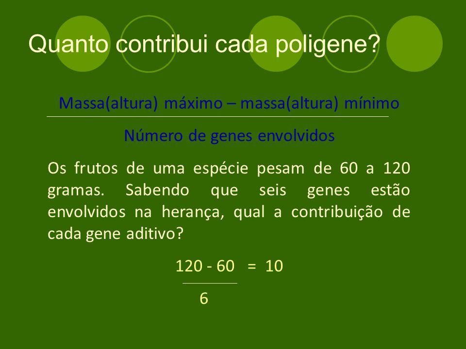 Massa(altura) máximo – massa(altura) mínimo Número de genes envolvidos Os frutos de uma espécie pesam de 60 a 120 gramas.