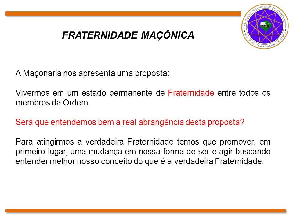 FRATERNIDADE MAÇÔNICA A Maçonaria nos apresenta uma proposta: Vivermos em um estado permanente de Fraternidade entre todos os membros da Ordem. Será q