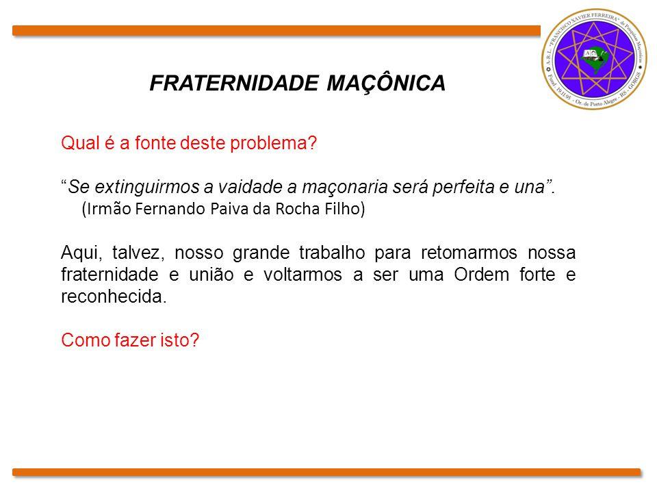 """Qual é a fonte deste problema? """"Se extinguirmos a vaidade a maçonaria será perfeita e una"""". (Irmão Fernando Paiva da Rocha Filho) Aqui, talvez, nosso"""
