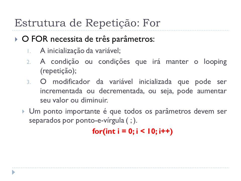 Estrutura de Repetição: For  O FOR necessita de três parâmetros: 1. A inicialização da variável; 2. A condição ou condições que irá manter o looping