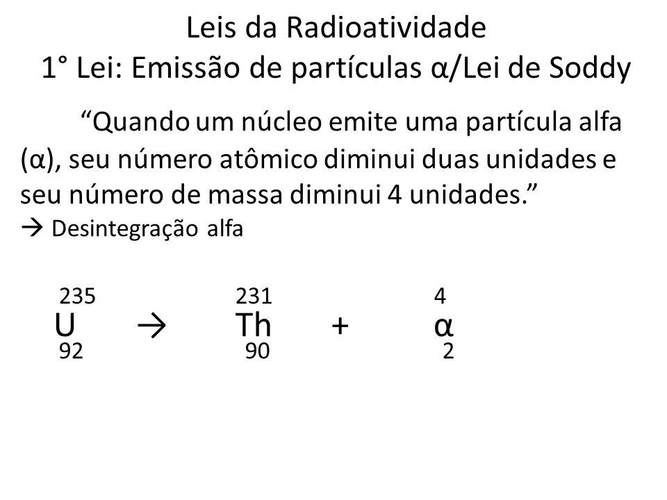 """Leis da Radioatividade 1° Lei: Emissão de partículas α/Lei de Soddy """"Quando um núcleo emite uma partícula alfa (α), seu número atômico diminui duas un"""