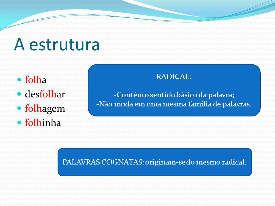 A estrutura Participamos= particip + a + mos Entendemos = entend + e + mos Sentimos = sent + i + mos VOGAL TEMÁTICA: Prepara o radical para receber as desinências e também indicar a conjugação a que o verbo pertence.